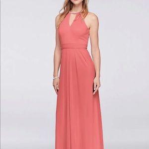 David's bridal high neck embellished coral dress